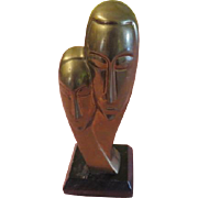Woman and Man Brass Bust - b193