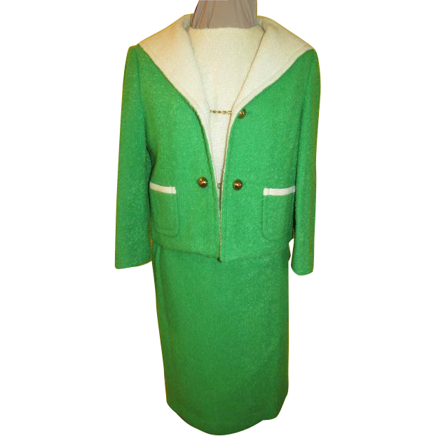 Spring Time Green 2 Tone Boucle Arthur Jay 3-piece suit