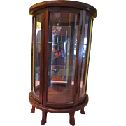 Optical illusion Mirror Back Semi circle Demi-Lune Curio Cabinet - g