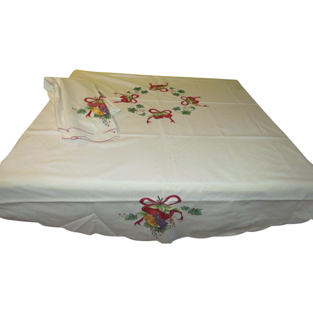 Embroidered Fruit Tablecloth - b195
