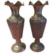 Etched Brass Vases with Ruffled Rims - b196