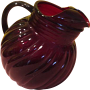 Anchor Hocking Swirl Ruby Red Ball Tilt Pitcher - b198