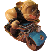 Clay Art Bad to the Bone Bulldog On Motorcycle Salt and Pepper shakers - b200