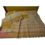 Gold Embroidered Cafe Curtains in Package - L8