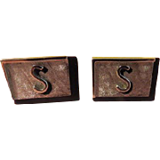 """S"" Swank Initial Black and Silver tone Cuff links - Free shipping"