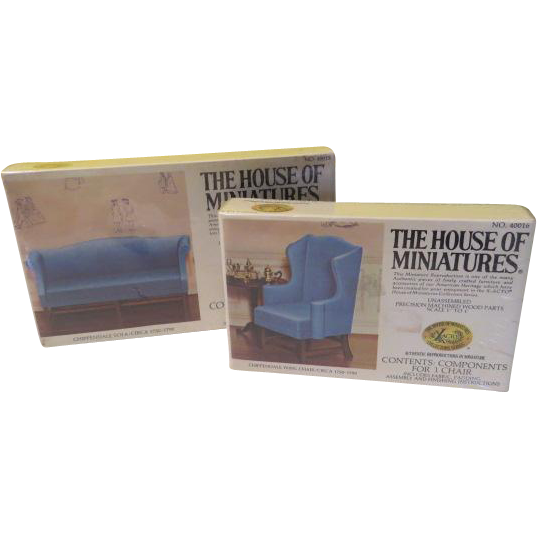 The House of Miniatures Chippendale Sofa and Wing Chair Kits in Boxes - b204