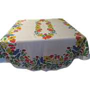 Primary Color Flowers Oval tablecloth