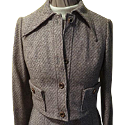 Brown Tweed Turtleneck Dress with Jacket