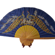 Peacocks Printed on Silk Wall Fan