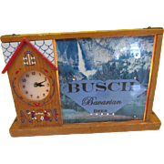 Vintage Busch Bavarian Beer Advertising Sign & Clock