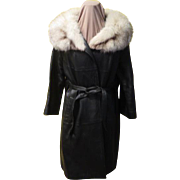 Black belt in Fashion Leather Coat with Fur Collar