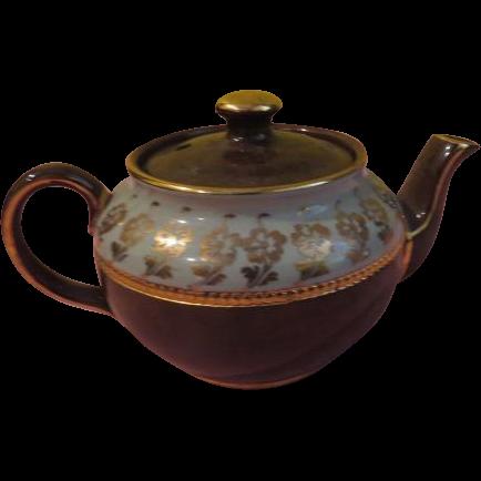 Green Over Brown Individual Sadler Tea Pot - b198