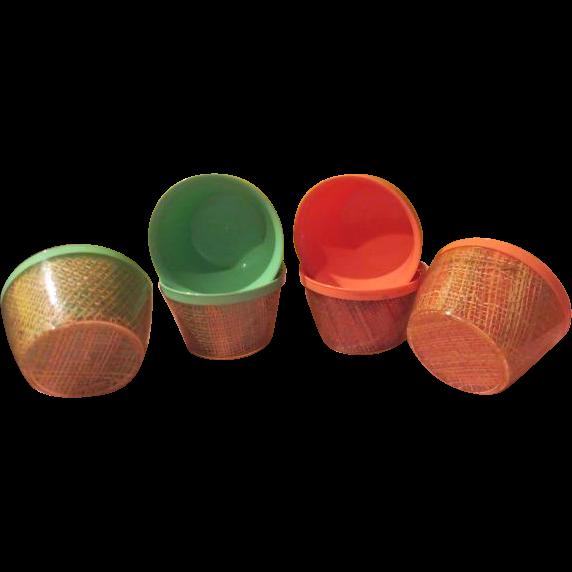 Lime and Orange Sherbert 50's Fun Raffia Insulated Bowls - b201