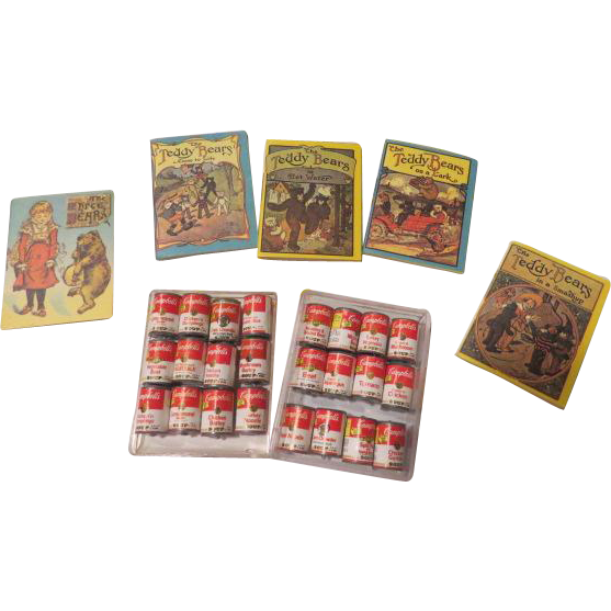 Miniature soup Cans and Bedtime Teddy Bear books - b204