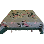 Bold Flowers on Green Barkcloth Tablecloth - b204