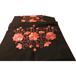 Pink on Black Embroidered Runner/scarf - b205