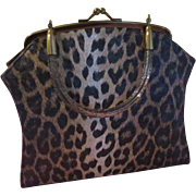 On the Wild Side Spotted Leopard Print Lin Brin Handbag - b206