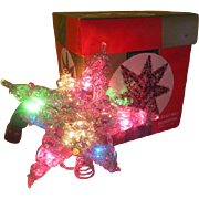 3-D Silver Tinsel star Tree Topper in Box - X-16-2