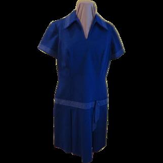 Notch Collar Drop Waist Dress