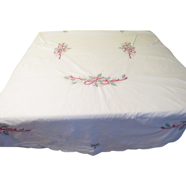 Embroidered Bows and Holly Tablecloth - b249
