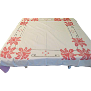 X-stitch Embroidered Muslin Tablecloth - L4