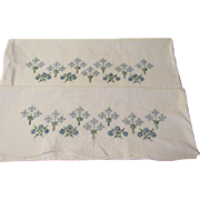 Cross Stitch Blue Flowers and More Pillow Cases - b207