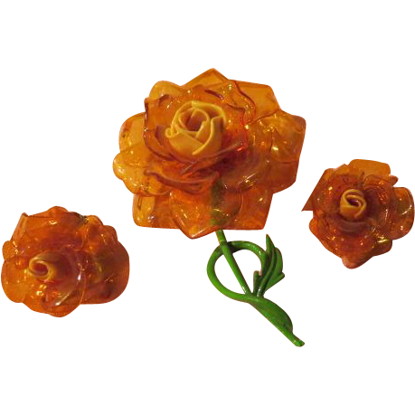 Acrylic Roses Pin and Clip-on Earrings - free Shipping