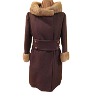 Belted and Buttoned Fur Collar and Cuff Coat