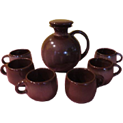 Frankoma Lazy Bones Carafe/jug and mugs Brown Stain _ FG