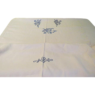 Pale Pink with Blue Embroidered Flowers Tablecloth - L4