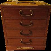 Brass Capped 4 Drawer Jewelry Box - X-16-5