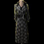 Black, Gray & Silver Plaid Maxi Skirt & Top