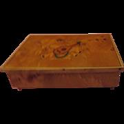 Burled Wood Italian Music/jewelry/valet Box - b198
