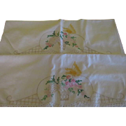 Butterfly and Basket Embroidered Pillow Cases - b203