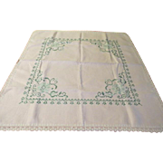 Green X-stitch Tablecloth - b210