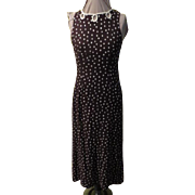 White on Brown Dots Skimmer Dress
