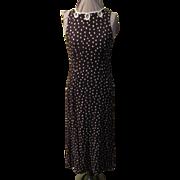 White on Brown Dots Skimmer Dress