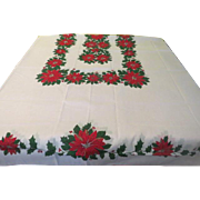 Red Poinsettia on Bright White Tablecloth - X-16-4