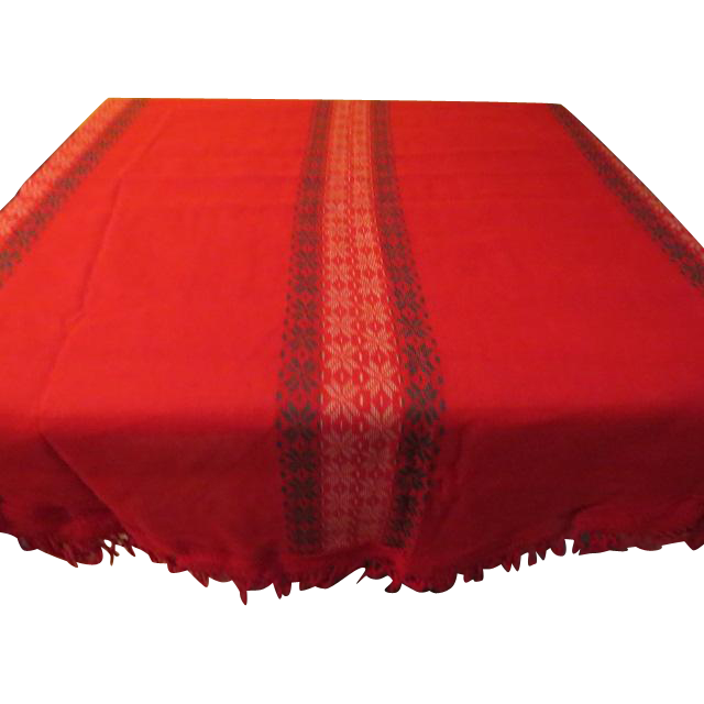 Round Red Woven Snowflake Tablecloth - CL2