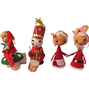 Santa and Mrs Mouse, Drummer and Elf Christmas Tree Ornaments. - b219