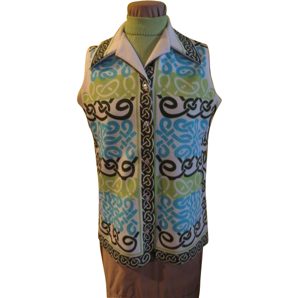 Pop Art Green and Blue Screen Print Blouse with Shell