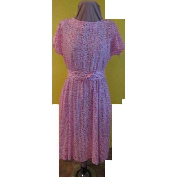 Pink Printed Sashed Shirtwaist Dress
