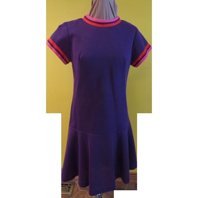 Bands of Color Drop Waist , Flip Skirt Dress