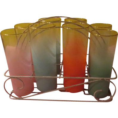 Pastel Frosted Glasses in Arched White Carrier - b208