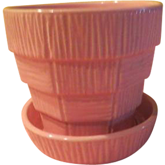 McCoy Pink Basketweave Flower Pot - b211