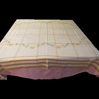 Cross Stitch Embroidered Plaid Border Tablecloth - b210