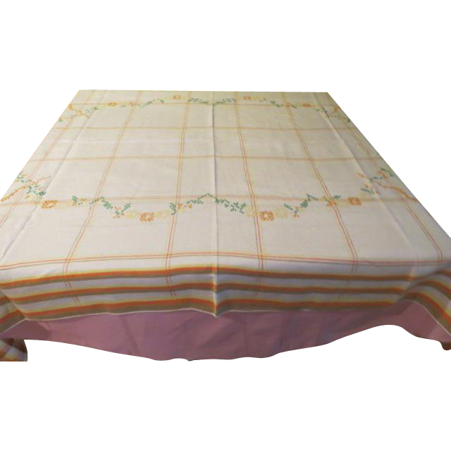 Cross Stitch Embroidered Plaid Border Tablecloth - b210