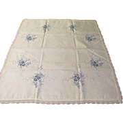 Blue Embroidered Bridge Size Tablecloth - b209