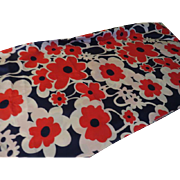 The Power of Flowers Red and White on Navy fabric - L9