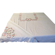 Signed and Dated Embroidered Heart Tablecloth - b200